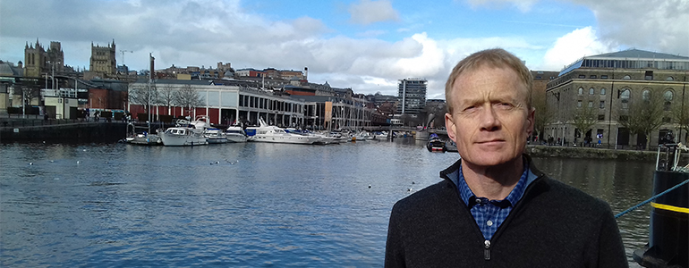 Chris Bouch in front of Bristol Harbour