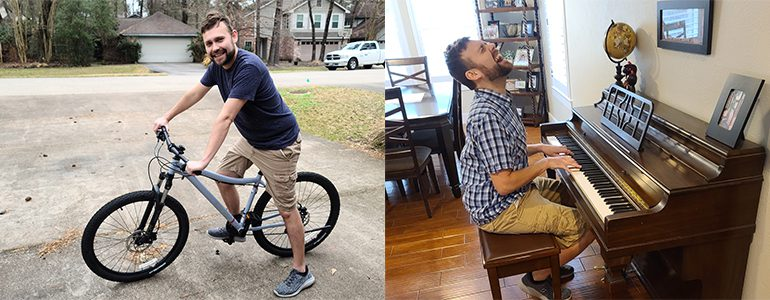 Laszlo on his bike and at the piano